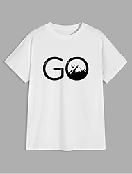 cheap -Men's Unisex T shirt Hot Stamping Letter Plus Size Print Short Sleeve Casual Tops 100% Cotton Basic Casual Fashion White