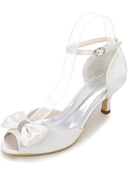 cheap -Women's Wedding Shoes Kitten Heel Round Toe Wedding Sandals Satin Bowknot Solid Colored White Purple Red