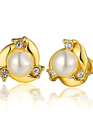 cheap -Women's Pearl Earrings Geometrical Fashion Cute Gold Plated Earrings Jewelry Gold For Anniversary Party Evening Birthday Festival 1 Pair