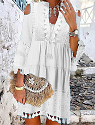 cheap -Women's Shift Dress Short Mini Dress White Blue Yellow Blushing Pink Beige 3/4 Length Sleeve Tassel Fringe Lace Cold Shoulder Summer Deep V Hot Casual Boho vacation dresses 2021 S M L XL XXL 3XL
