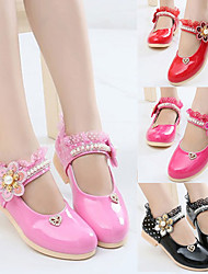 cheap -Girls' Flats Flower Girl Shoes Princess Shoes School Shoes Rubber PU Little Kids(4-7ys) Big Kids(7years +) Daily Party & Evening Walking Shoes Rhinestone Sparkling Glitter Buckle Black Peach Red Fall