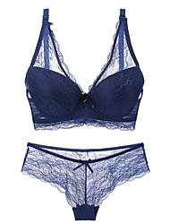 cheap -Women's Plus Size Bra & Panty Set Underwire Bra 3/4 Cup Lace Printing Nylon Spandex Blue
