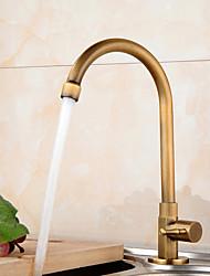cheap -Kitchen faucet - Single Handle One Hole Antique Brass Standard Spout Centerset Antique Kitchen Taps