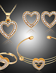 cheap -Women's Jewelry Set Bridal Jewelry Sets Cut Out Heart Precious Fashion Gold Plated Earrings Jewelry Gold For Christmas Wedding Halloween Party Evening Gift 1 set