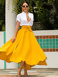 cheap -Women's Evening Party Date Vacation Contemporary Classic & Timeless Chic & Modern Skirts Solid Colored Pure Color Red Yellow Orange