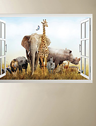 cheap -3D Fake Window African Animal Park Home Background Decoration Can Be Removed Stickers 60*90cm