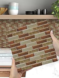 cheap -Imitation Epoxy Tile Sticker Brown Mosaic Wall Sticker House Renovation Diy Self-adhesive Pvc Wallpaper Painting Kitchen Waterproof And Oilproof Wall Sticker