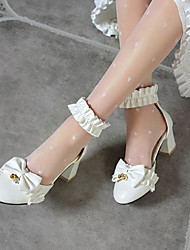 cheap -Women's Lolita Shoes Block Heel Pointed Toe Lolita Preppy Daily Party & Evening PU Bowknot Pearl Solid Colored White Black Pink
