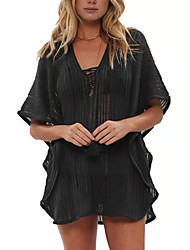 cheap -Women's Swimsuit Cover Up Beach Top Swimsuit Chiffon Lace Solid Color Geometric Black Swimwear T shirt Dress Tunic Plunge Bathing Suits New Fashion Sexy