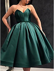 cheap -A-Line Minimalist Sexy Engagement Cocktail Party Dress Strapless Sleeveless Knee Length Satin with Pleats 2021