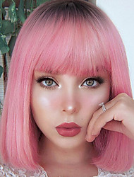 cheap -Short Blunt Cut Bob Wig With Bangs for Women Synthetic Bob Wigs Black Pink Wig for Party Daily Shoulder Length Blonde Pink Wig