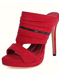 cheap -Women's Sandals Stiletto Heel Open Toe High Heel Sandals Sexy Classic Wedding Party & Evening Nubuck Color Block Almond Black Red