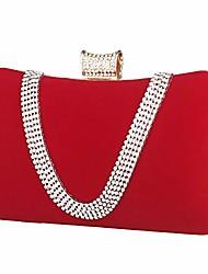 cheap -luxury evening bag womens clutch diamonds suede handbag shoulder for wedding purse bridal prom party banquet (red)