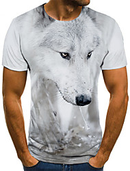 cheap -Men's T shirt 3D Print Animal 3D Print Print Short Sleeve Casual Tops Casual Fashion White