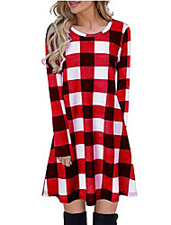 cheap -2020 cross-border amazon aliexpress long sleeve plaid dress women