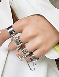 cheap -Chain Combination Ring Punk Style Chain Link Multiple Finger Open Ring Party Concert Ceremony Jewelry - Silver