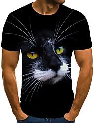 cheap -Men's T shirt 3D Print Animal 3D Print Print Short Sleeve Casual Tops Casual Fashion Black / Red