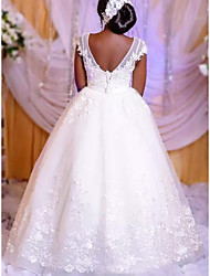 cheap -Princess Ball Gown Wedding Dresses Jewel Neck Floor Length Lace Tulle Short Sleeve Formal Romantic Luxurious with Appliques 2021
