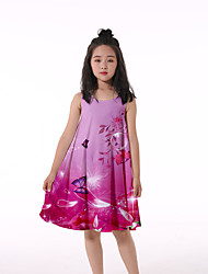 cheap -Kids Little Girls' Dress Butterfly Graphic Animal Ruched Print Fuchsia Knee-length Sleeveless 3D Print Cute Dresses Loose 4-13 Years