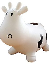 cheap -White Cow Bouncer with Hand Pump, Inflatable Space Hopper, Ride-on Bouncy Animal