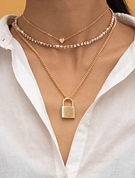 cheap -Choker Necklace Necklace Layered Necklace Women's Tennis Chain Cubic Zirconia White Imitation Diamond Artistic Simple Fashion Vintage Trendy Gold Silver 40,40,52 cm Necklace Jewelry 3pcs for Street