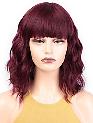 cheap -Synthetic Wig Water Wave Short Bob Neat Bang Wig Short A15 A16 A17 A10 A11 Synthetic Hair Women's Cosplay Party Fashion Red Brown