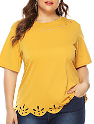 cheap -Women's Plus Size T-shirt Solid Colored Round Neck Tops Basic Top Yellow