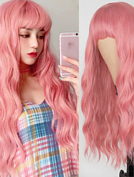 cheap -Long Mix Pink Womens Wigs With Bangs Heat Resistant Synthetic Kinky Curly Orange Gold Wigs for Women African American