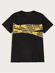 cheap -Men's Unisex T shirt Hot Stamping Graphic Prints Letter Plus Size Print Short Sleeve Daily Tops 100% Cotton Basic Fashion Classic Black