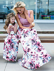 cheap -Mommy and Me Dress Graphic Print Light Purple Sleeveless Maxi Matching Outfits