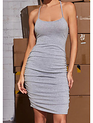 cheap -Women's Sheath Dress Short Mini Dress Gray Sleeveless Solid Color Backless Summer cold shoulder Sexy 2021 XS S M L
