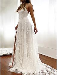 cheap -Sheath / Column Wedding Dresses Spaghetti Strap Court Train Lace Sleeveless Romantic Sexy with Appliques Split Front 2021