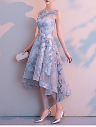 cheap -A-Line Jewel Neck Tea Length Lace / Tulle Bridesmaid Dress with Lace / Tier