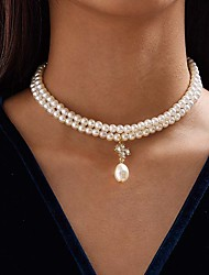 cheap -Women's Pendant Necklace Necklace Stacking Stackable Simple Elegant Fashion Classic Imitation Pearl Alloy Gold 38 cm Necklace Jewelry 1pc For Party Evening Street Gift Beach Festival