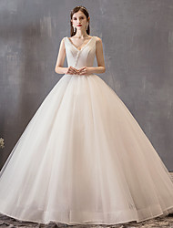 cheap -Princess Ball Gown Wedding Dresses V Neck Floor Length Satin Tulle Sleeveless Formal Luxurious with Bow(s) Beading 2021