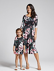cheap -Family Look Dress Graphic Print Black Short Sleeve Maxi Matching Outfits