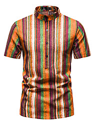 cheap -Men's Shirt Other Prints Striped Short Sleeve Daily Tops 100% Cotton Orange