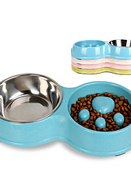 cheap -slow feeder dog bowls with non-slip bottom, double cat dog feeder cat bowl with detachable stainless steel bowl, dog food and water bowl for small medium dog cat, collapsible dog bowls as a gift