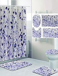 cheap -Purple Small Emerald Flower Pattern Printing Bathroom Shower Curtain Leisure Toilet Four-Piece Design