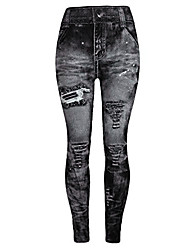 cheap -jeggings high waist butt lift skinny style printing vintage pants leggings plus/junior size s-xl gray