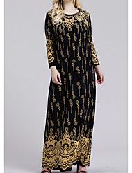 cheap -Women's Plus Size Dress Shift Dress Maxi long Dress Long Sleeve Floral Print Casual Fall Summer Gold XL XXL 3XL 4XL 5XL