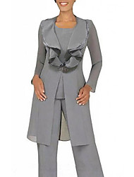 cheap -Pantsuit / Jumpsuit Mother of the Bride Dress Sexy Jewel Neck Floor Length Chiffon Long Sleeve with Buttons 2021