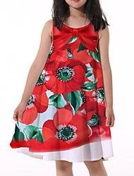 cheap -Kids Little Girls' Dress Flower Print Red Knee-length Sleeveless Flower Active Dresses Summer Regular Fit 5-12 Years