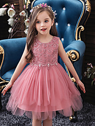 cheap -Princess / Ball Gown Knee Length Wedding / Party Flower Girl Dresses - Tulle Sleeveless Jewel Neck with Bow(s) / Beading / Solid