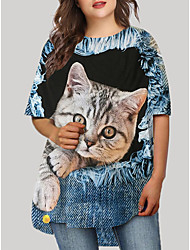 cheap -Women's Plus Size Cat Graphic Animal Print Casual Half Sleeve Fall Short Mini Dress T Shirt Dress Tee Dress Blue