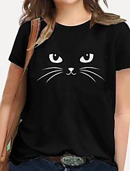 cheap -Women's Plus Size Tops T shirt Print Cat Graphic Animal Large Size Round Neck Short Sleeve Basic Big Size XL XXL 3XL 4XL 5XL White Black Blue / 100% Cotton