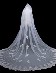 cheap -One-tier Vintage Inspired Wedding Veil Chapel Veils with Solid 137.8 in (350cm) Lace / Tulle
