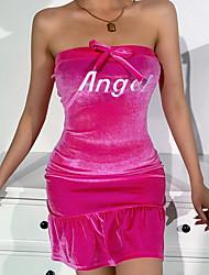 cheap -Women's A Line Dress Short Mini Dress Composition: 70% cotton 30% polyester Maximum code weight: 0.21kg Fabric: Korean velvet Black Sleeveless Letter Summer Strapless Elegant 2021 S M L