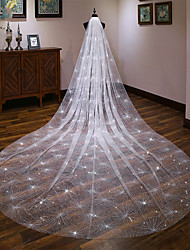 cheap -One-tier Elegant & Luxurious Wedding Veil Cathedral Veils with Scattered Bead Floral Motif Style / Solid 157.48 in (400cm) Tulle
