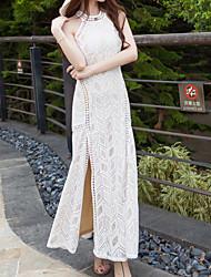 cheap -Sheath / Column Sexy Boho Holiday Prom Dress Halter Neck Sleeveless Ankle Length Lace with Split 2021